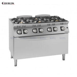 Giorik Unika 700 6 Burner Gas Range On Maxi Electric Oven CG76EH