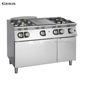 Giorik Unika 700 4 Burners Hob + Central Plate With Gas Oven And Neut. TG76FTC