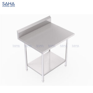 SAHA - Table With Bottom Shelf and Backsplash – SHWT206
