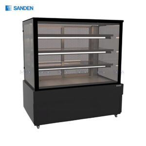 Sanden – Cake Showcase – Flat Glass 3 Shelfs – Black Color - SKS-1217Z