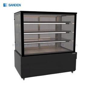 Sanden – Cake Showcase – Flat Glass 3 Shelfs – Black Color - SKS-1217Z