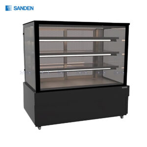 Sanden - Cake Showcase – Flat Glass 3 Shelfs – Black Color - SKS-1517Z