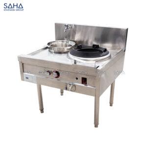 SAHA - Gas Chinese Wok Range 1 Burner with Single Rear Pot - SHCGBS1086X