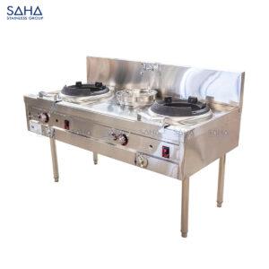 SAHA - Gas Chinese Wok Range 2 Burners with Single Rear Pot – SHCGBS1150X
